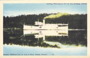 Reflection Of A Steamer Midland City On Way To Penetang, Ontario, Canada, 191...