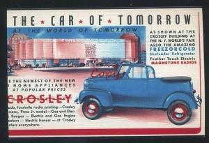 CROSLEY CAR DEALER CARS VINTAGE ADVERTISING POSTCARD