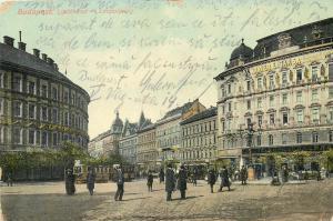 Budapest 1913 Hungary Leopoldring Krayer E. es Tarsa Kavehaz Cafe Tramways