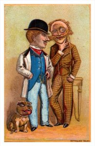 20095  Victorian Card, 2 well dressed Men, and English  Terrier, Pitbull