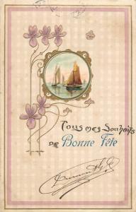 Embossed 1905 purple floral fantasy sailing vessels fantasy Bonne Fete greetings