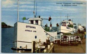 1940s Mackinac Island MI Postcard Ottawa Chippewa & Iroquois Arnold Line Ferry