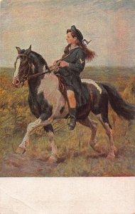 A. Stocke Ferienzeit Holidays Girl Riding Horse Painting Art Postcard