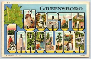 Greensboro North Carolina~State Large Letter Linen Postcard~Cotton Picker~Sheep