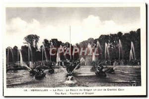Old Postcard Versailles Parc Du Dragon Pool A Large Water Day