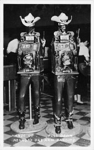 Las Vegas NV One Arm Bandit's Hands Up Pull Down Real Photo Postcard