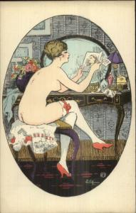 Nude Art Woman Stocking HI Heels Topless Reading Love Letter EDY Postcard