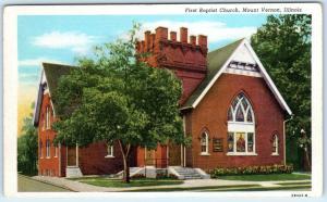 MOUNT VERNON, Illinois  IL    FIRST BAPTIST CHURCH    ca 1940s Linen  Postcard