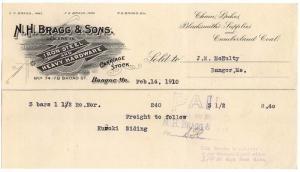 1910 Billhead, N. H. BRAGG & SONS, Iron, Steel & Hardware...