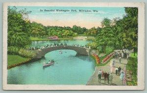 Milwaukee Wisconsin~Beautiful Washington Park~Canoes on the River~c1930~Postcard