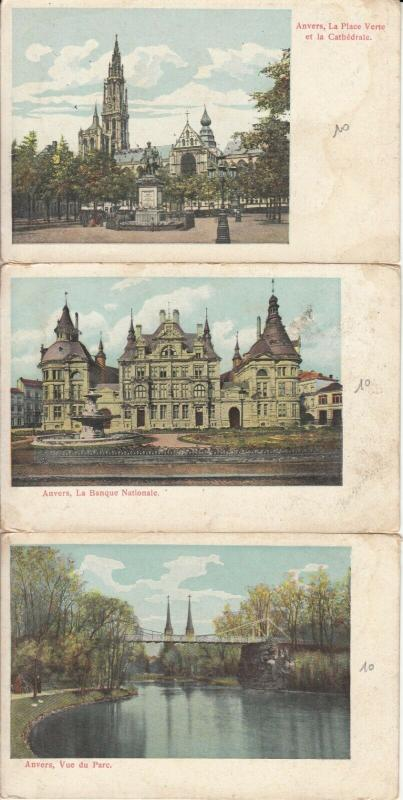 Lot 3 early postcards Antwerp 1900s Belgium