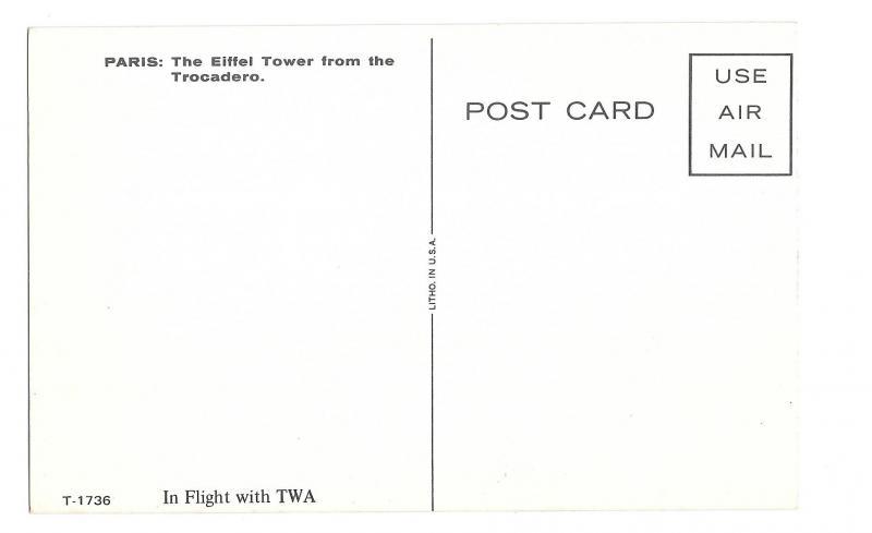 TWA Paris Eiffel Tower Advertising Postcard Trans World