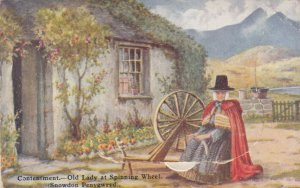 Snowdon Penygwryd , WALES , 1920-30s ; Woman & spinning Wheel, Pop-out views