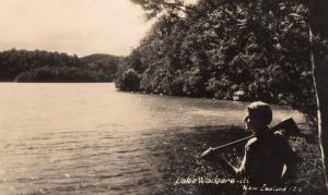 Man Perhaps With Maori Weapon Fishing Lake Waikare New Zealand Postcard Photo