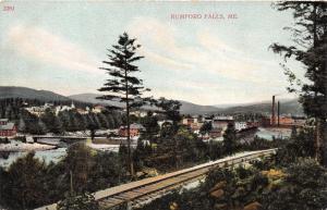 Rumford Falls Maine Hillside View~Buildings~Bridge~Factory?~Railroad Tracks~1910