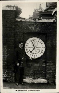 Greenwich UK Time Official 24 Clock Real Photo Postcard