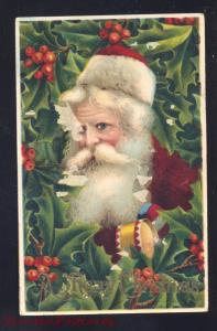 ANTIQUE VINTAGE CHRISTMAS POSTCARD SANTA CLAUS MAROON ROBE