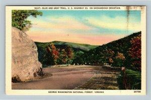George Washington National Forest VA Shenandoah Mountain Linen Virginia Postcard