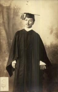 Ethnography - Philippines or Black Young Man Graduation Gown Real Photo Postcard