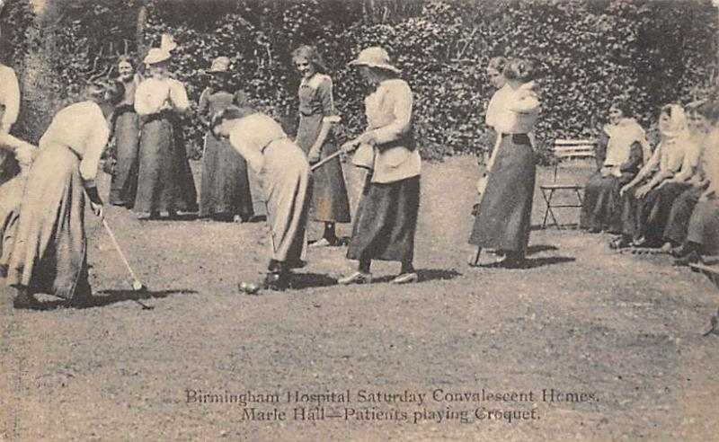 Birmingham UK Hospital, Patients Playing Croquet Postcard Birmingham Hospital...