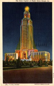 Louisiana Baton Rouge The State Capitol At Night 1948 Curteich