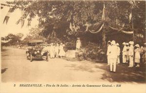 FRENCH CONGO Brazzaville arrivee du Gouverneur General voiture automobile