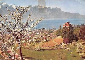 Switzerland Castle of Chatelard, Montreux-Clarens and the Alps of Savoy in April