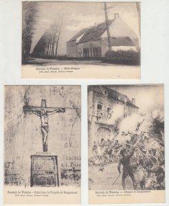 P2214, old postcard 3 dif waterloo scenes belgium unused