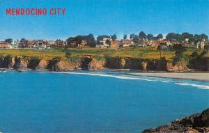 Mendocino City California Birdseye View Of City Vintage Postcard K99740