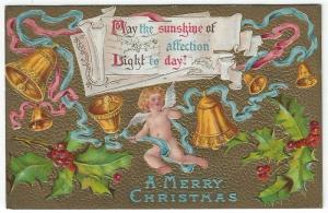 Vintage Christmas Greetings Postcard, Cherub, Gold Bells,  Holly & Berries 1909