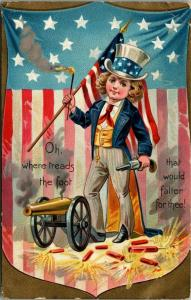 Patriotic~4th of July~Boyish Uncle Sam Lights Cannon~Firecrackers~Flag Back~TUCK