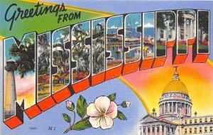 MISSISSIPPI 1940s LARGE LETTER  Linen Greetings Postcard