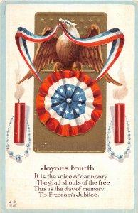 F42/ Patriotic Postcard July 4th Independence Day c1910 Eagle Fireworks 20
