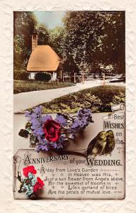 Best Wishes on the Anniversary of your Wedding, birds, flowers, cottage