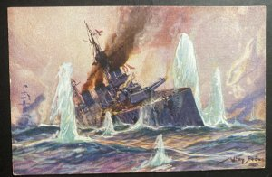 Mint Germany Picture Postcard the sinking Of A British Battle Ship By U Boats
