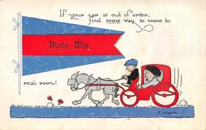 Find Some Way to Come to Viola Wisconsin~Man Resorts to Horse & Buggy~Pennant