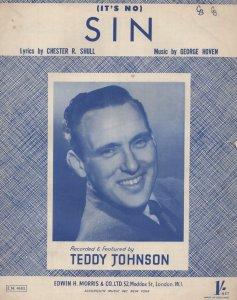 Its No Sin Teddy Johnson Rare Photo Cover 1950s Sheet Music