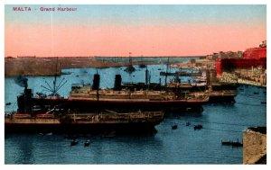 Steamers in Grand harbor Malta