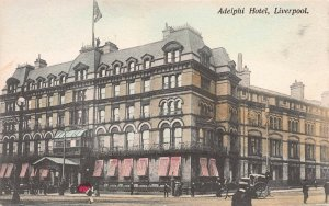 Adelphi Hotel, Liverpool, England, Early Hand Colored Postcard, Unused