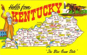 Hello From Kentucky The Blue Grass State With Map