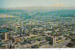 Washington Tacoma Aerial View With Mt Rainier In Background