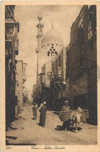 Cairo Egypt native quarter street mosque vintage postcard