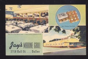 DALLAS TEXAS JAY'S MARINE GRILL INTERIOR RESTAURANT LINEN ADVERTISING POSTCARD