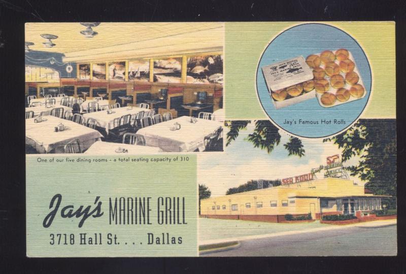 DALLAS TEXAS JAY'S MARINE GRILL INTERIOR RESTAURANT LINEN ADVERTISING POSTCARD
