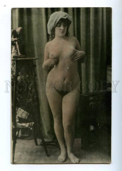 149697 NUDE Woman after Bath Vintage PHOTO tinted