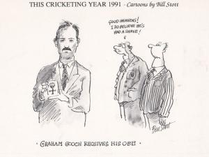 Graham Gooch Receiving Royal OBE Cricket Comic Limited Edition of 1000 Postcard