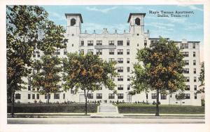 Dallas Texas~Maple Terrace Apartment~2 Towers~Trees in Front~1920s Postcard