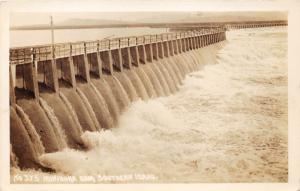 Idaho~Minidoka Dam~Gates Open~c1930s RPPC Postcard