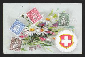 SWITZERLAND Stamps on Postcard Flowers Unused c1910s