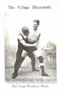The Village Blacksmith Wrestling Postcard Postcards  The Village Blacksmith